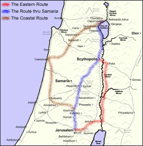 Three Routes to Jerusalem from Galilee